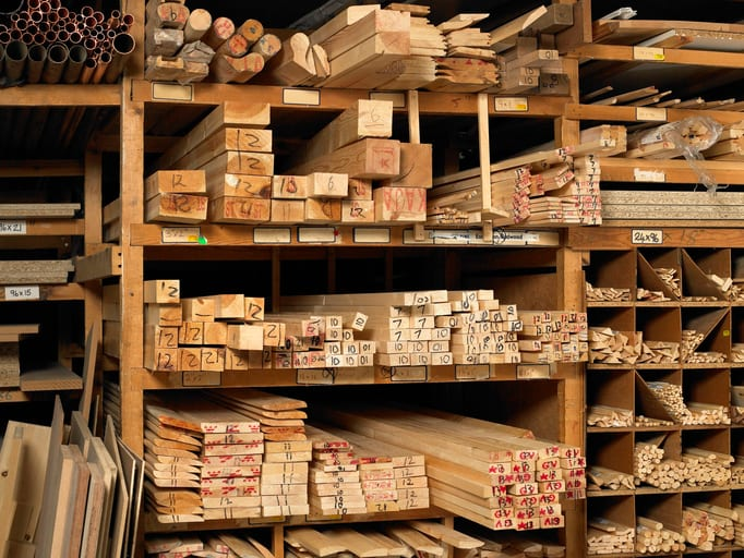 Oswald Wholesale Lumber Planks of wood on shelves